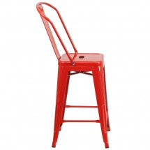 Flash Furniture CH-31320-24GB-RED-GG Red Metal Indoor-Outdoor Counter Height Stool with Square Seat and Back 24 addl-1