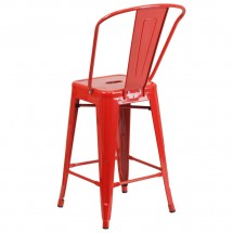 Flash Furniture CH-31320-24GB-RED-GG Red Metal Indoor-Outdoor Counter Height Stool with Square Seat and Back 24 addl-2