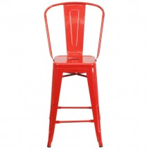 Flash Furniture CH-31320-24GB-RED-GG Red Metal Indoor-Outdoor Counter Height Stool with Square Seat and Back 24 addl-3