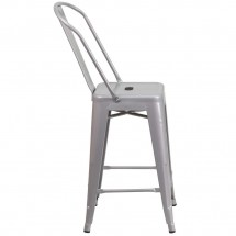 Flash Furniture CH-31320-24GB-SIL-GG Silver Metal Indoor-Outdoor Counter Height Stool with Square Seat and Back 24 addl-1