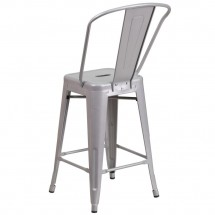 Flash Furniture CH-31320-24GB-SIL-GG Silver Metal Indoor-Outdoor Counter Height Stool with Square Seat and Back 24 addl-2