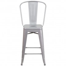 Flash Furniture CH-31320-24GB-SIL-GG Silver Metal Indoor-Outdoor Counter Height Stool with Square Seat and Back 24 addl-3