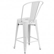 Flash Furniture CH-31320-24GB-WH-GG White Metal Indoor-Outdoor Counter Height Stool with Square Seat and Back 24 addl-2