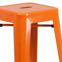 Flash Furniture CH-31320-30-OR-GG Backless Orange Metal Indoor-Outdoor Barstool with Square Seat 30 addl-1