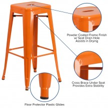 Flash Furniture CH-31320-30-OR-GG Backless Orange Metal Indoor-Outdoor Barstool with Square Seat 30 addl-2