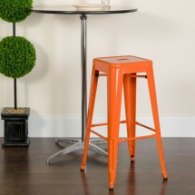 Flash Furniture CH-31320-30-OR-GG Backless Orange Metal Indoor-Outdoor Barstool with Square Seat 30 addl-3