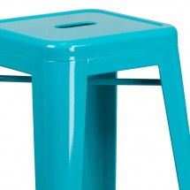 Flash Furniture ET-BT3503-30-CB-GG Backless Crystal Teal-Blue Metal Indoor-Outdoor Barstool with Square Seat 30 addl-1