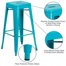 Flash Furniture ET-BT3503-30-CB-GG Backless Crystal Teal-Blue Metal Indoor-Outdoor Barstool with Square Seat 30 addl-2