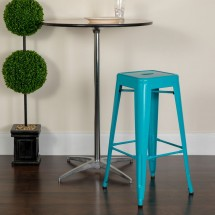 Flash Furniture ET-BT3503-30-CB-GG Backless Crystal Teal-Blue Metal Indoor-Outdoor Barstool with Square Seat 30 addl-3