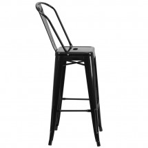 Flash Furniture CH-31320-30GB-BK-GG Black Metal Indoor-Outdoor Counter Height Stool with Square Seat and Back 30 addl-1