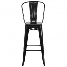 Flash Furniture CH-31320-30GB-BK-GG Black Metal Indoor-Outdoor Counter Height Stool with Square Seat and Back 30 addl-3