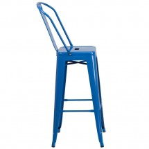 Flash Furniture CH-31320-30GB-BL-GG Blue Metal Indoor-Outdoor Counter Height Stool with Square Seat and Back 30 addl-1
