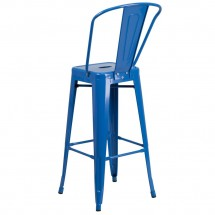 Flash Furniture CH-31320-30GB-BL-GG Blue Metal Indoor-Outdoor Counter Height Stool with Square Seat and Back 30 addl-2