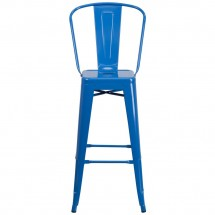 Flash Furniture CH-31320-30GB-BL-GG Blue Metal Indoor-Outdoor Counter Height Stool with Square Seat and Back 30 addl-3