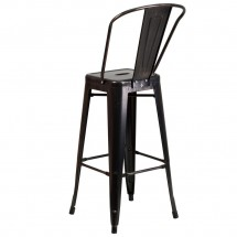 Flash Furniture CH-31320-30GB-BQ-GG Black-Antique Gold Metal Indoor-Outdoor Counter Height Stool with Square Seat and Back 30 addl-2
