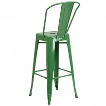 Flash Furniture CH-31320-30GB-GN-GG Green Metal Indoor-Outdoor Counter Height Stool with Square Seat and Back 30 addl-2