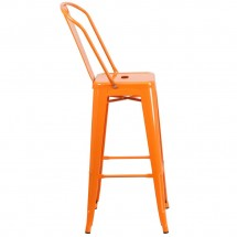 Flash Furniture CH-31320-30GB-OR-GG Orange Metal Indoor-Outdoor Counter Height Stool with Square Seat and Back 30 addl-1