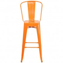 Flash Furniture CH-31320-30GB-OR-GG Orange Metal Indoor-Outdoor Counter Height Stool with Square Seat and Back 30 addl-3