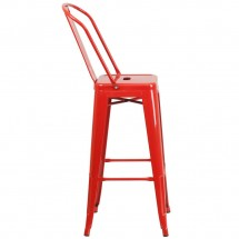 Flash Furniture CH-31320-30GB-RED-GG Red Metal Indoor-Outdoor Counter Height Stool with Square Seat and Back 30 addl-1