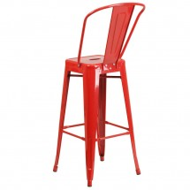 Flash Furniture CH-31320-30GB-RED-GG Red Metal Indoor-Outdoor Counter Height Stool with Square Seat and Back 30 addl-2