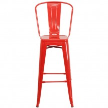 Flash Furniture CH-31320-30GB-RED-GG Red Metal Indoor-Outdoor Counter Height Stool with Square Seat and Back 30 addl-3