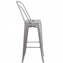 Flash Furniture CH-31320-30GB-SIL-GG Silver Metal Indoor-Outdoor Counter Height Stool with Square Seat and Back 30 addl-1