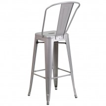 Flash Furniture CH-31320-30GB-SIL-GG Silver Metal Indoor-Outdoor Counter Height Stool with Square Seat and Back 30 addl-2