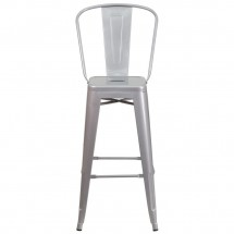Flash Furniture CH-31320-30GB-SIL-GG Silver Metal Indoor-Outdoor Counter Height Stool with Square Seat and Back 30 addl-3