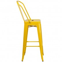 Flash Furniture CH-31320-30GB-YL-GG Yellow Metal Indoor-Outdoor Counter Height Stool with Square Seat and Back 30 addl-1