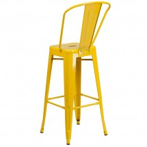Flash Furniture CH-31320-30GB-YL-GG Yellow Metal Indoor-Outdoor Counter Height Stool with Square Seat and Back 30 addl-2