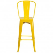 Flash Furniture CH-31320-30GB-YL-GG Yellow Metal Indoor-Outdoor Counter Height Stool with Square Seat and Back 30 addl-3