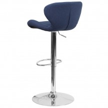 Flash Furniture CH-321-BLFAB-GG Contemporary Blue Fabric Adjustable Height Barstool with Curved Back and Chrome Base addl-2