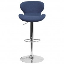 Flash Furniture CH-321-BLFAB-GG Contemporary Blue Fabric Adjustable Height Barstool with Curved Back and Chrome Base addl-3