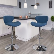 Flash Furniture CH-321-BLFAB-GG Contemporary Blue Fabric Adjustable Height Barstool with Curved Back and Chrome Base addl-4