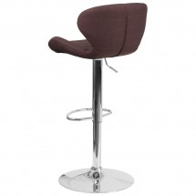 Flash Furniture CH-321-BRNFAB-GG Contemporary Brown Fabric Adjustable Height Barstool with Curved Back and Chrome Base addl-2