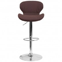 Flash Furniture CH-321-BRNFAB-GG Contemporary Brown Fabric Adjustable Height Barstool with Curved Back and Chrome Base addl-3