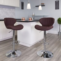 Flash Furniture CH-321-BRNFAB-GG Contemporary Brown Fabric Adjustable Height Barstool with Curved Back and Chrome Base addl-4