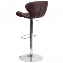 Flash Furniture CH-321-BRN-GG Contemporary Brown Vinyl Adjustable Height Barstool with Curved Back and Chrome Base addl-2