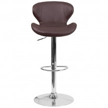 Flash Furniture CH-321-BRN-GG Contemporary Brown Vinyl Adjustable Height Barstool with Curved Back and Chrome Base addl-3