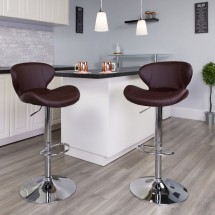 Flash Furniture CH-321-BRN-GG Contemporary Brown Vinyl Adjustable Height Barstool with Curved Back and Chrome Base addl-4