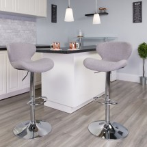 Flash Furniture CH-321-GYFAB-GG Contemporary Gray Fabric Adjustable Height Barstool with Curved Back and Chrome Base addl-4