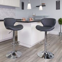 Flash Furniture CH-321-GY-GG Contemporary Gray Vinyl Adjustable Height Barstool with Curved Back and Chrome Base addl-4