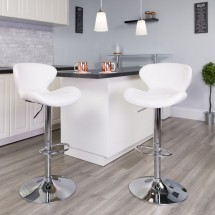 Flash Furniture CH-321-WH-GG Contemporary White Vinyl Adjustable Height Barstool with Curved Back and Chrome Base addl-4