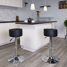 Flash Furniture CH-82056-BK-GG Contemporary Black Vinyl Adjustable Height Barstool with Chrome Base addl-1