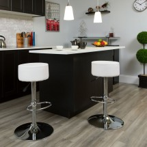 Flash Furniture CH-82056-WH-GG Contemporary White Vinyl Adjustable Height Barstool with Chrome Base addl-1