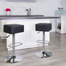 Flash Furniture CH-82058-4-BK-GG Contemporary Black Vinyl Adjustable Height Square Seat Barstool with Chrome Base addl-1