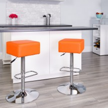Flash Furniture CH-82058-4-OR-GG Contemporary Orange Vinyl Adjustable Height Square Seat Barstool with Chrome Base addl-1