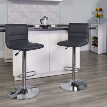 Flash Furniture CH-92023-1-GY-GG Contemporary Gray Vinyl Adjustable Height Barstool with Chrome Base addl-4
