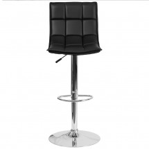 Flash Furniture CH-92026-1-BK-GG Contemporary Black Quilted Vinyl Adjustable Height Barstool with Chrome Base addl-3