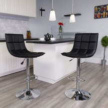 Flash Furniture CH-92026-1-BK-GG Contemporary Black Quilted Vinyl Adjustable Height Barstool with Chrome Base addl-4